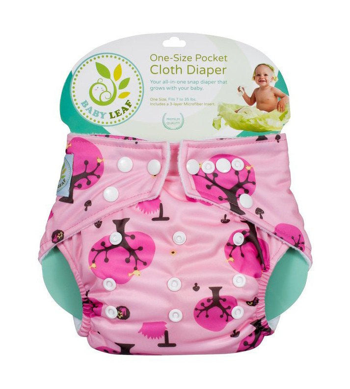 Baby Leaf Cherry Blossom One-Size Cloth Diapers