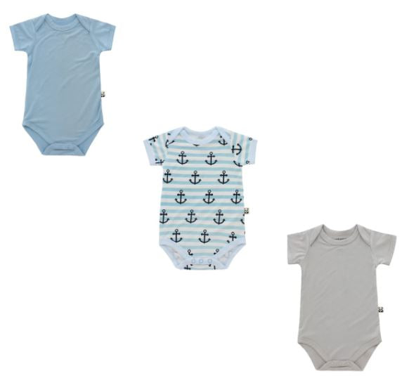Bamberry Baby Short Sleeved Onesie Trio Pack - Boy Print