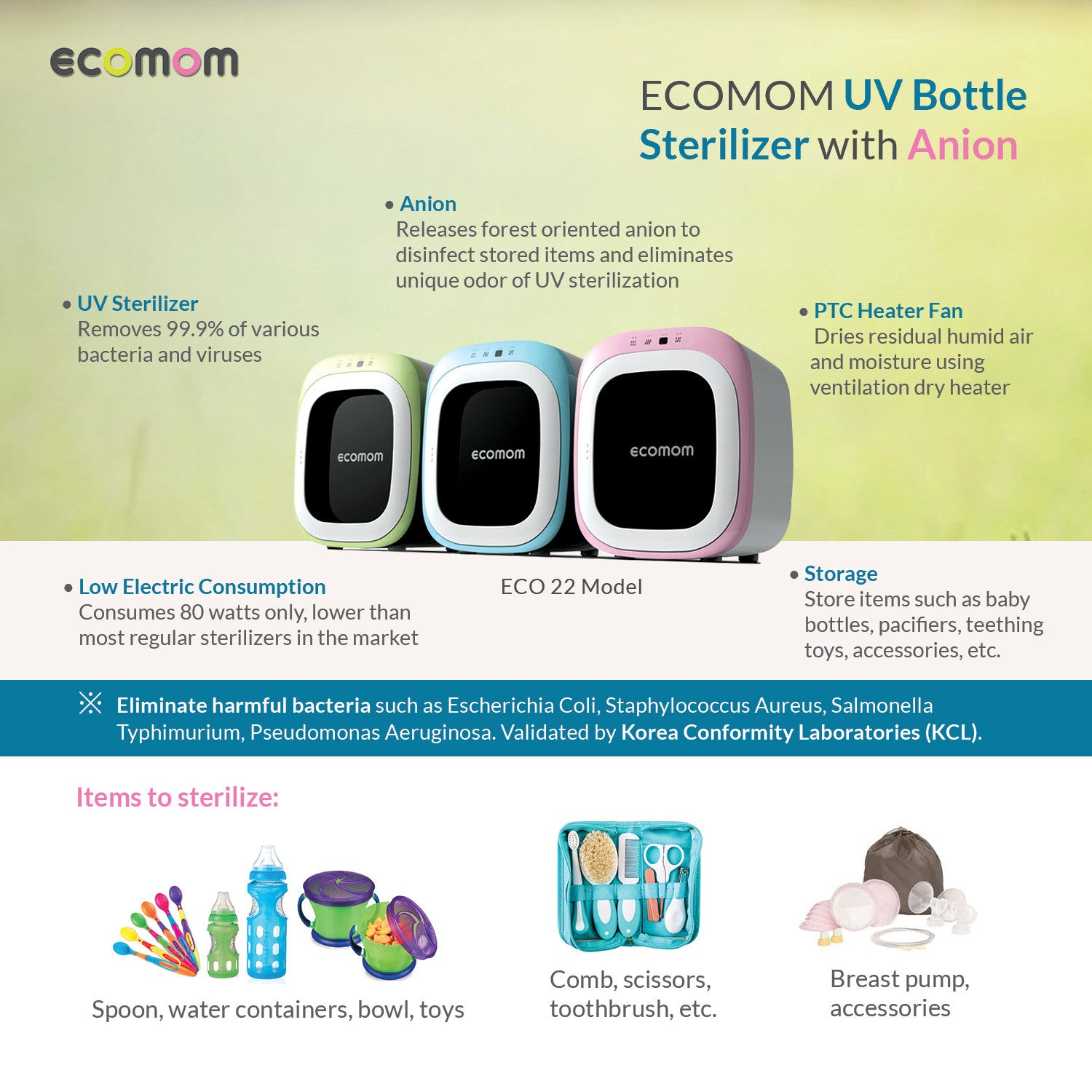 Ecomom ECO22 UV Sterilizer and Dryer with Anion