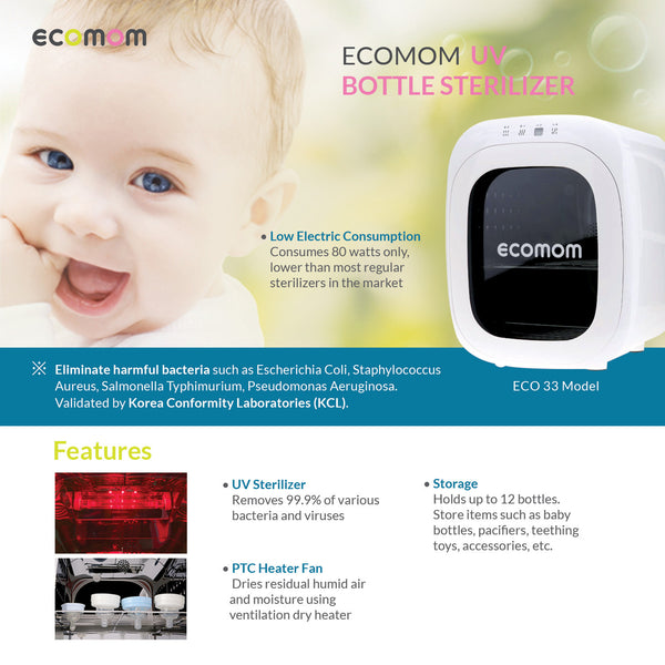 ECO-33 Baby Bottle Multi Sterilizer Ultraviolet Disinfection 220V (White)