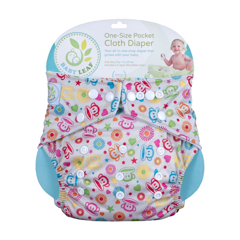 Baby Leaf Funky Monkey One-Sized Cloth Diaper