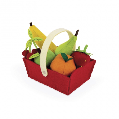 Janod Fabric Basket With 8 Fruits (J06577)