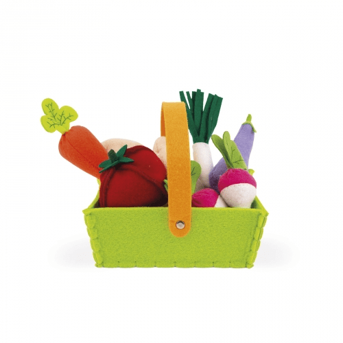 Janod Fabric Basket With 8 Vegetables (J06578)
