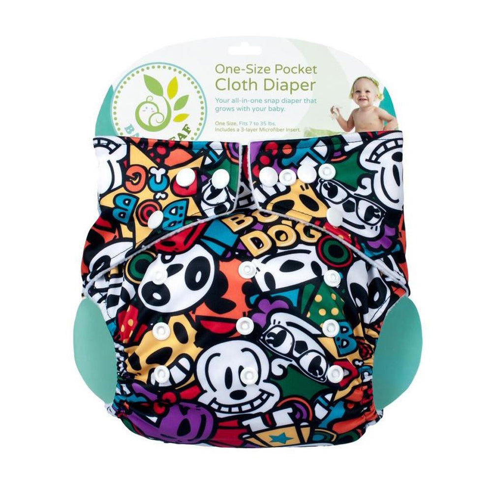Baby Leaf Graffiti Rocks One-Size Cloth Diapers