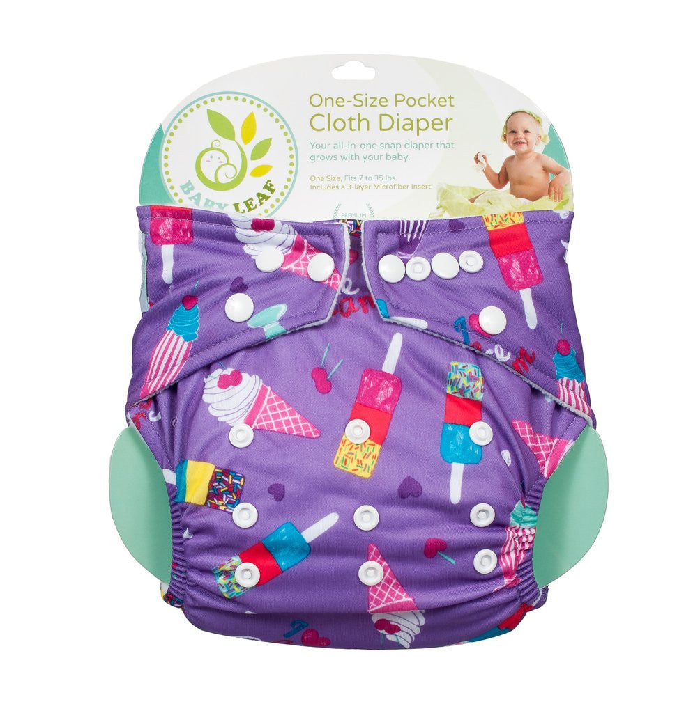 Baby Leaf Ice Cream Delight One-Size Cloth Diapers