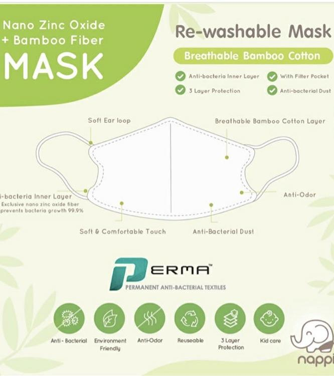 Nappi Baby Re-washable Breathable Bamboo Cotton Face Mask