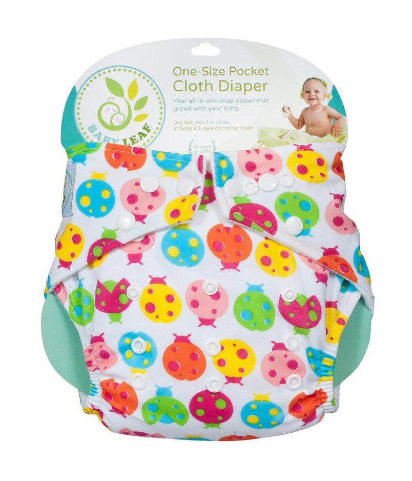 Baby Leaf Baby Leaf Lady Bug Colors One-Size Cloth Diapers