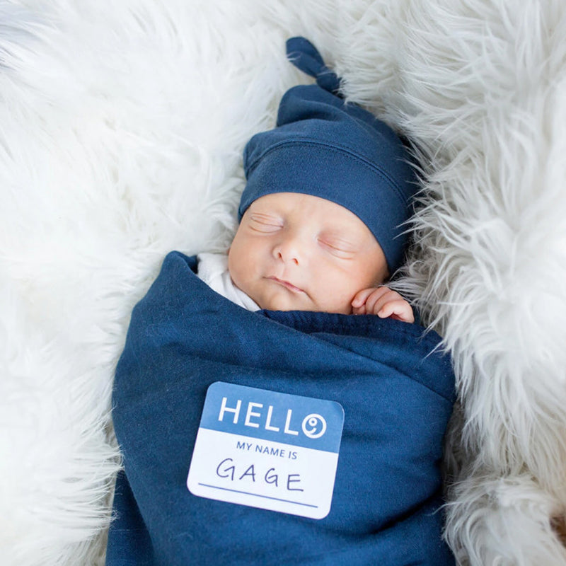 Lulujo Hello World Hat & Swaddle Set