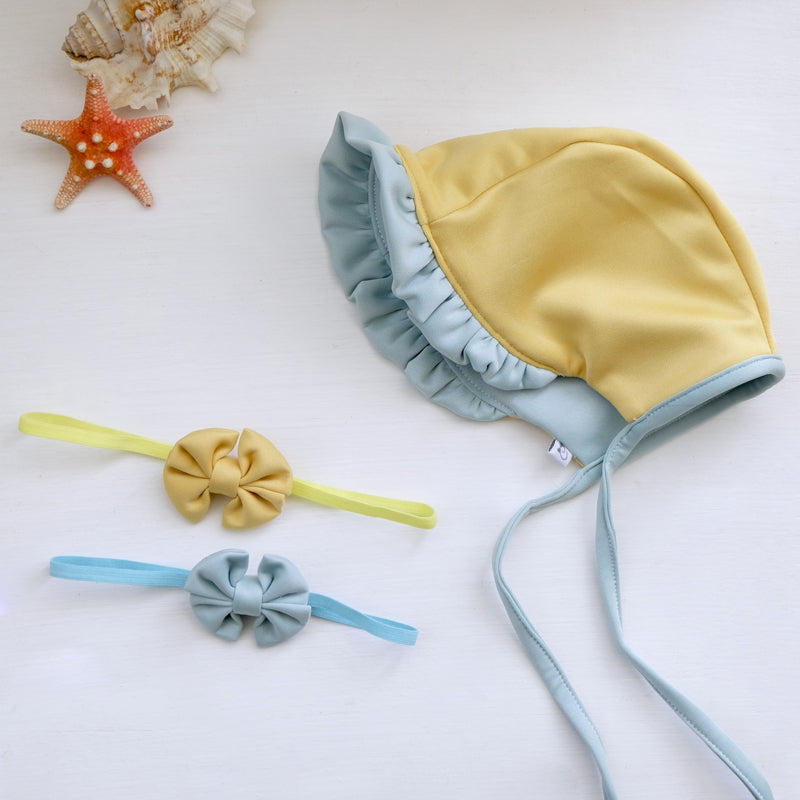 Style Me Little Reversible Swim Bonnet and Bow | Skinny Elastic | 0-6 Months