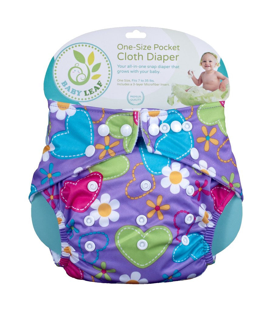 PURPLE FLORA One-Size Cloth Diapers