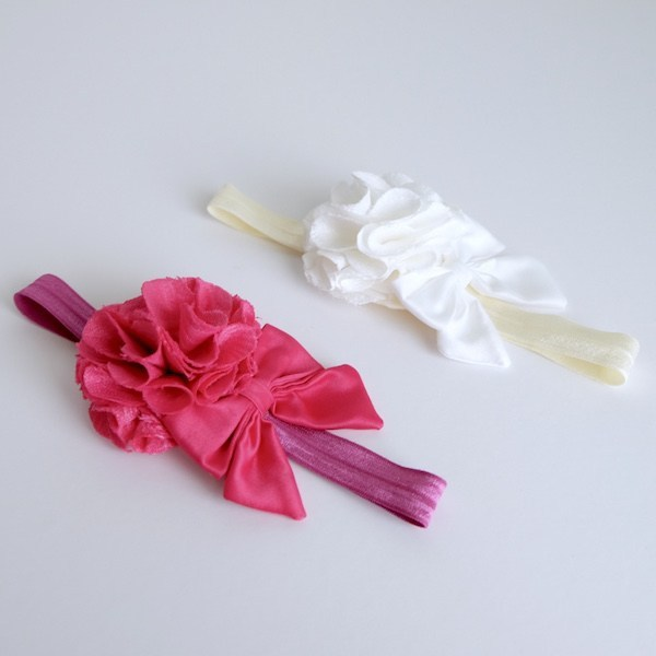 Style Me Little Rosy and Satin Bow | Elastic | 3-6 Months