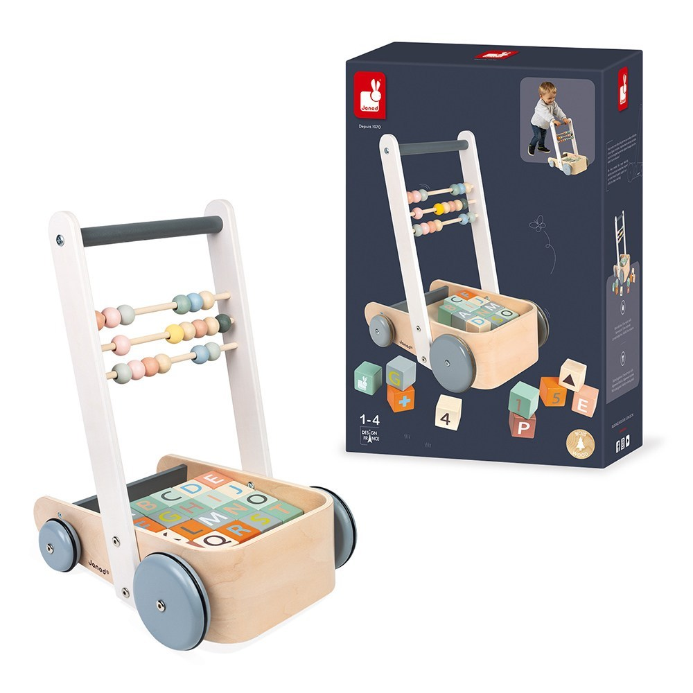 Janod Sweet Cocoon Cart with ABC blocks (J04408)
