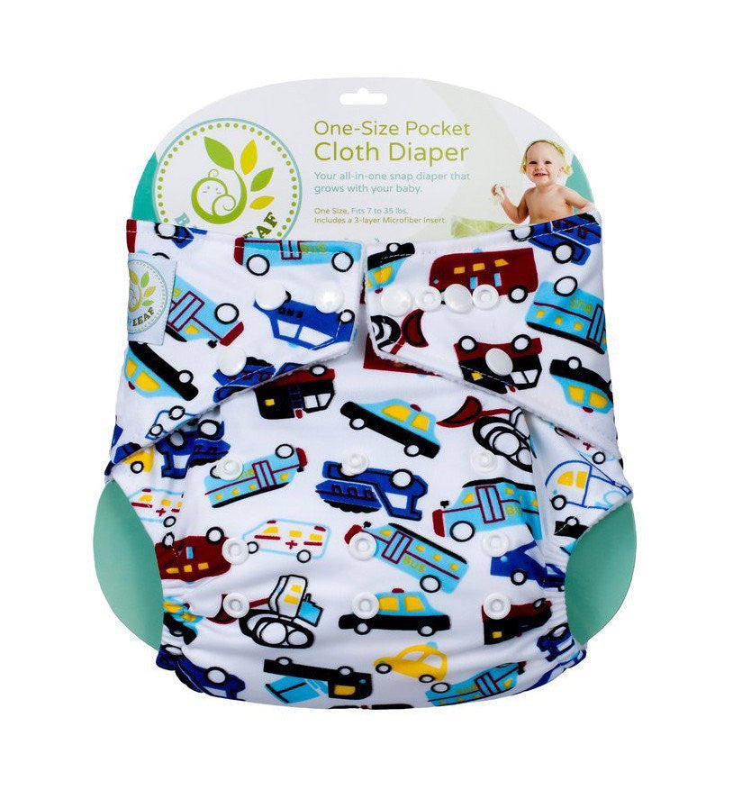 Baby Leaf TRAFFIC JAM One-Size Cloth Diapers
