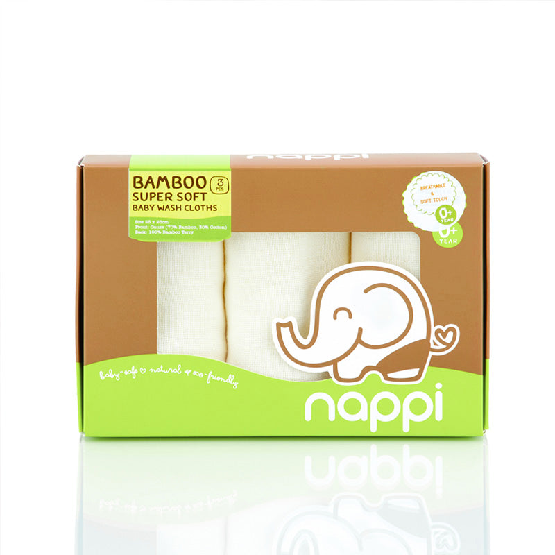 Nappi Bamboo Gauze Wash Cloth 3's