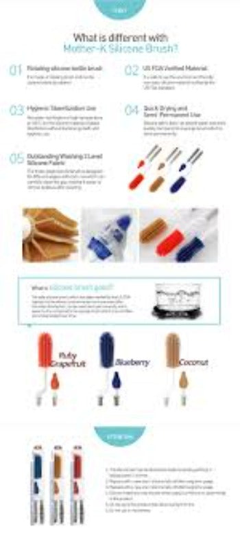 Mother-K Silicone Bottle and Nipple Brush