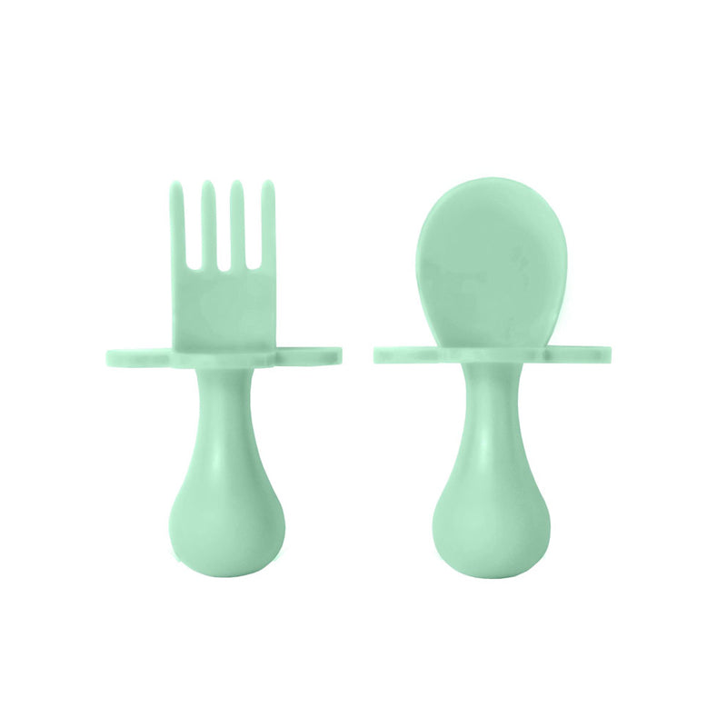 Grabease First Self Feeding Utensil Set of Spoon and Fork for Toddlers