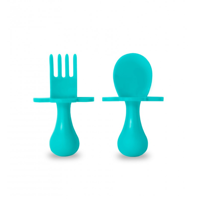 First Self Feeding Utensil Set of Spoon and Fork for Toddlers
