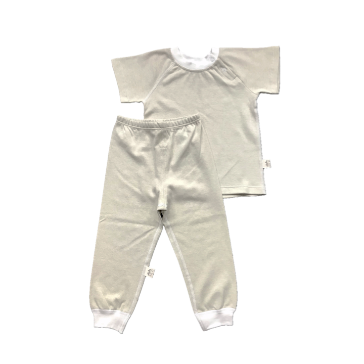 Yoji Short Sleeve Shirt and Pajama Set Green Solid