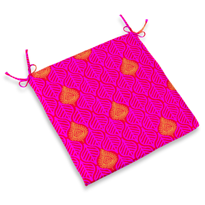 CHAIR PAD - LEAVES HOT PINK