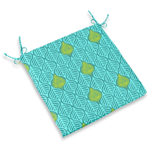CHAIR PAD - LEAVES TEAL