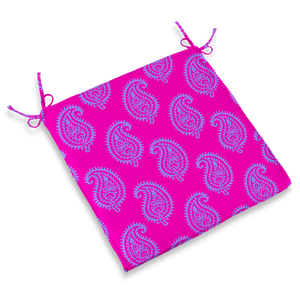 CHAIR PAD - PAISLEY HOT PINK