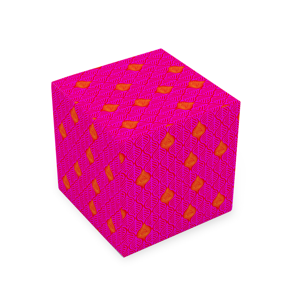 CUBE STOOL - LEAVES HOT PINK
