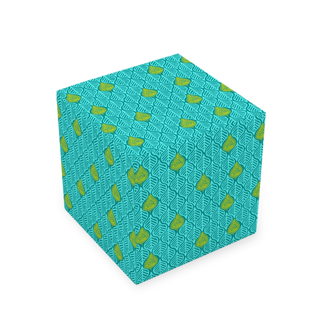 CUBE STOOL - LEAVES TEAL