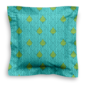 XL SQUARE - LEAVES TEAL