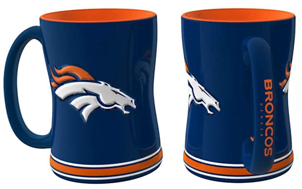 Denver Broncos 14oz Blue Sculpted Relief Coffee Mug