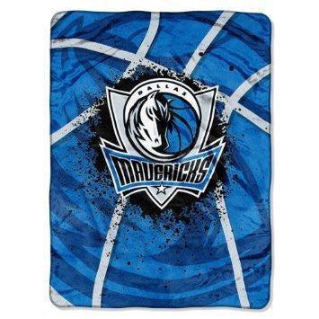"Dallas Mavericks 60""x80"" Royal Plush Raschel Throw Blanket - Shadow Play Design"