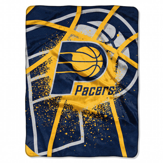 "Indiana Pacers 60""x80"" Royal Plush Raschel Throw Blanket - Shadow Play Design"