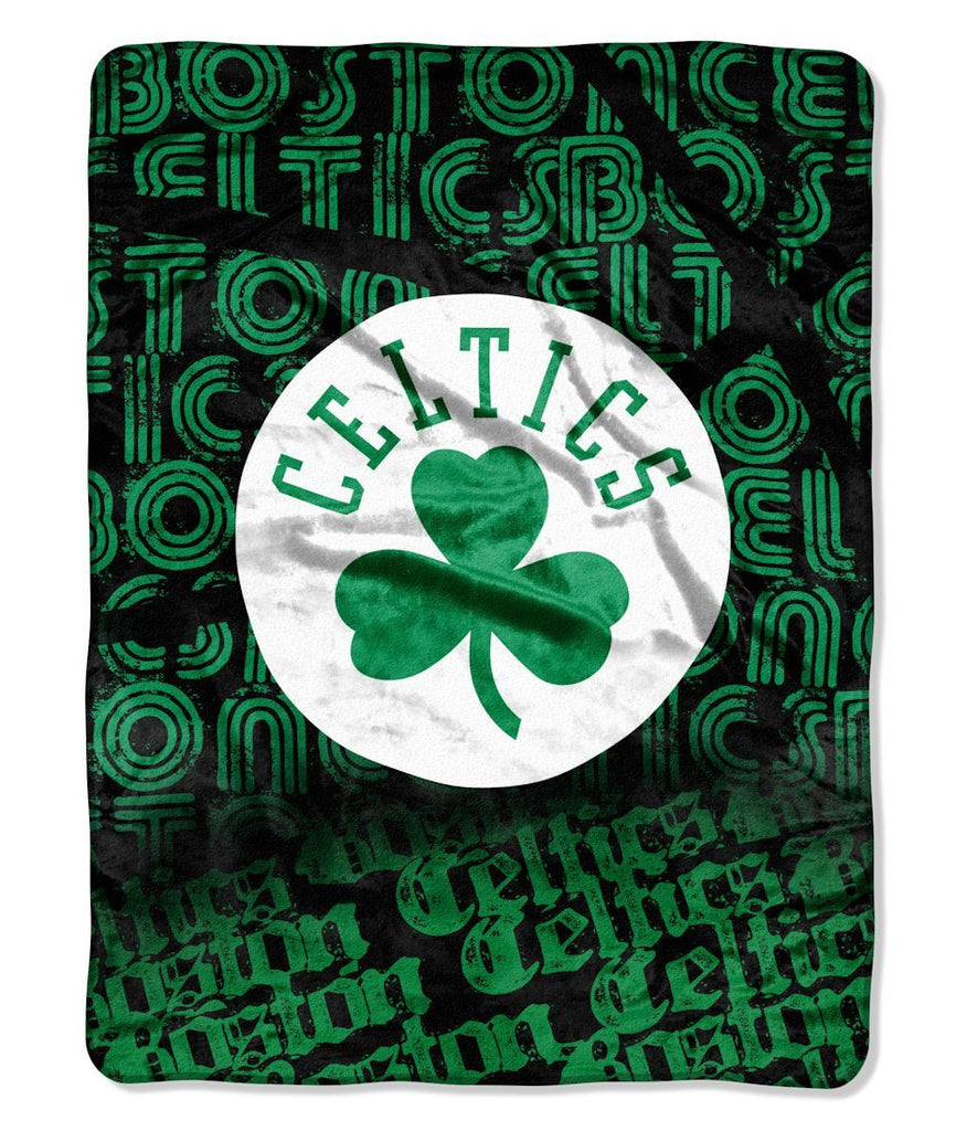 "Boston Celtics 46"" x 60"" Micro Raschel Throw Blanket - Rolled - Redux"