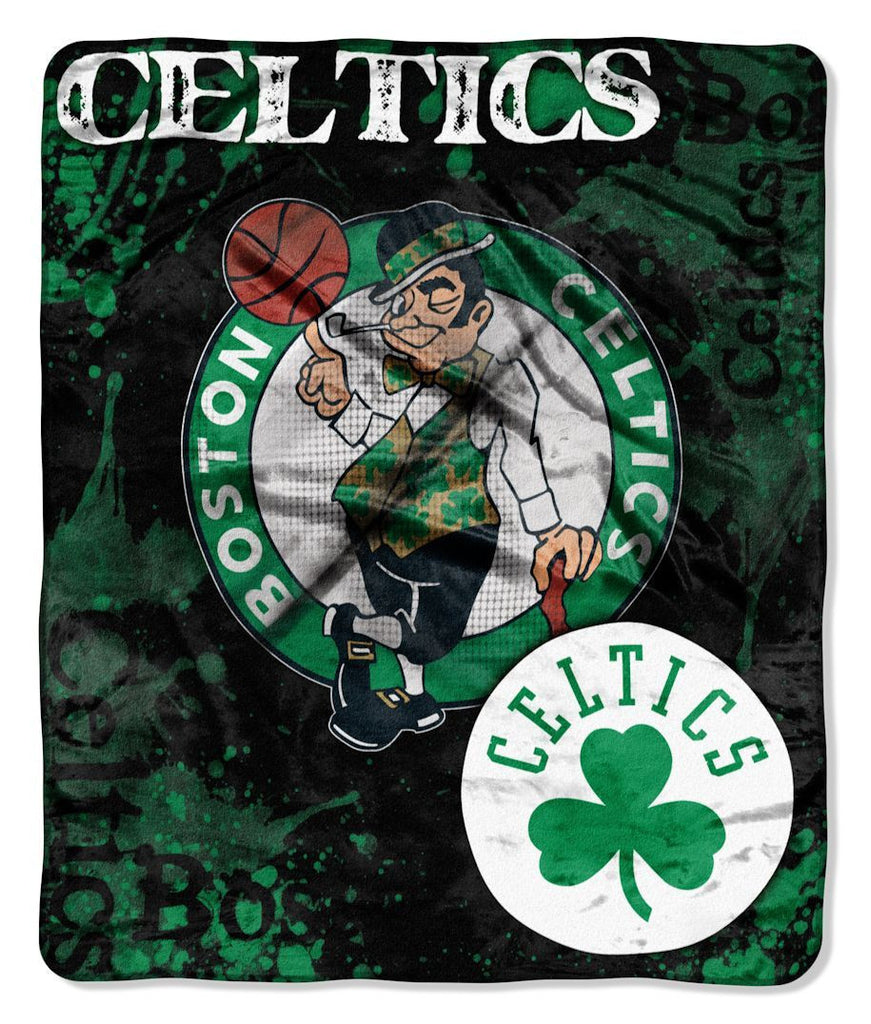 "Boston Celtics 50""x60"" Royal Plush Raschel Throw Blanket - Drop Down Design"