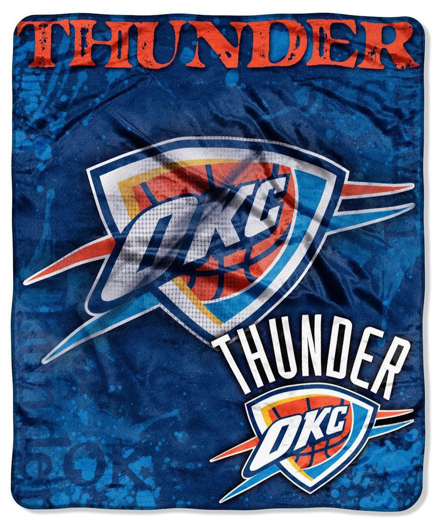 "Oklahoma City Thunder 50""x60"" Royal Plush Raschel Throw Blanket - Drop Down Design"