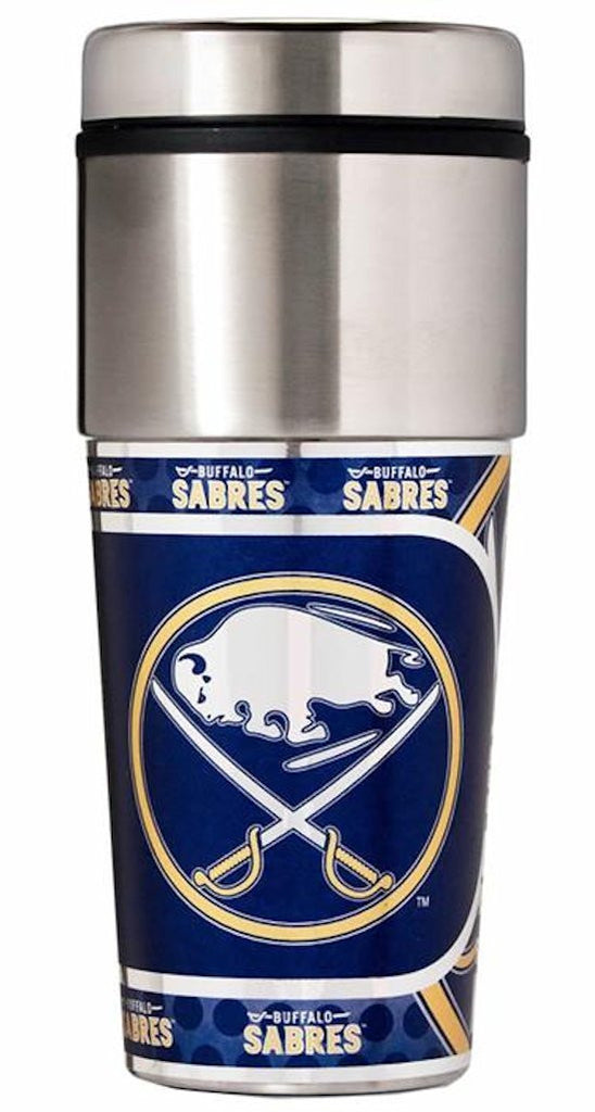 Buffalo Sabres 16 ounce Travel Tumbler with Metallic Graphics