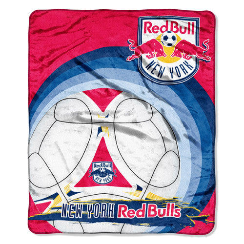 New York Red Bulls MLS Royal Plush Raschel Blanket (50x60)