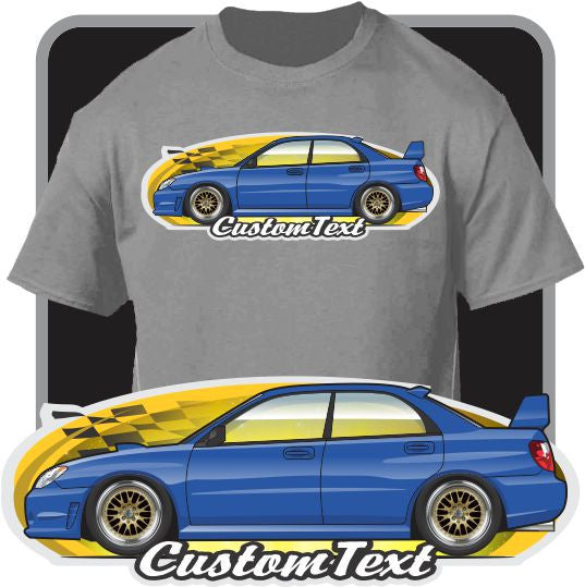 Custom Art T-Shirt 2001 02 03 04 05-2007 Subaru Impreza RS WRX Sti Turbocharged