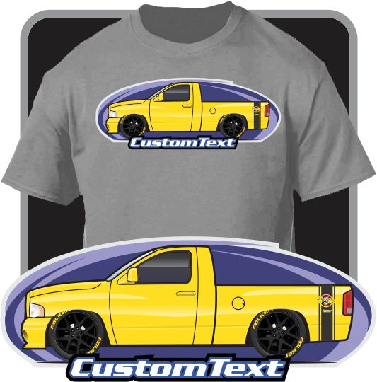 Custom Art T-Shirt 2002 02 2003 03 04 2004 05 2005 Dodge Truck Ram 1500 2500 short bed Rumble Bee pickup