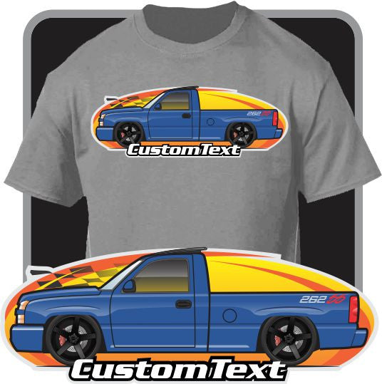 Custom Art T-Shirt 03 2003 04 2005 05 06 2006 Chevrolet Silverado SS LSX 1500 Z71 Pickup Truck lowered slammed lifted all wheel drive GMC
