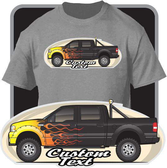 Custom Art T-Shirt 2004-2008 Ford F-150 5.4 L Triton V8 SuperCrew FX4, Lariat King Ranch XLT STX SuperCab FX2 Pickup Truck
