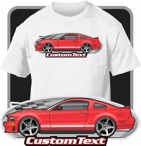 Custom Art T-Shirt  05 06 07 08 09 2009 Ford Mustang GT Cobra Shelby GT500 V8 5.0 Pony California Special Bullitt 45th GT-H Edition shelby