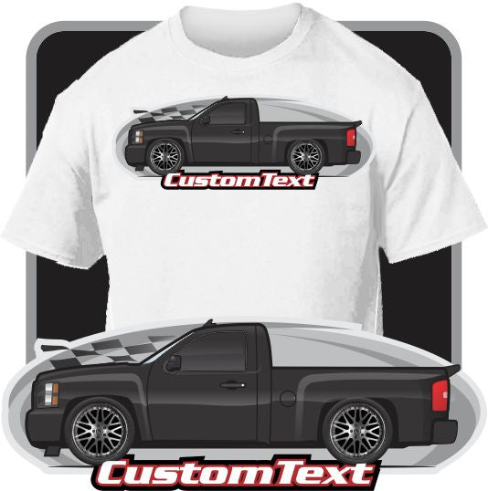 Custom Art T-Shirt 2007 07 2008 08 09 2009 2010 10 11 2011 2012 12 13 2013 Chevrolet Chevy Silverado 1500 LT LTZ Pickup Truck Z71 Off-Road GMC