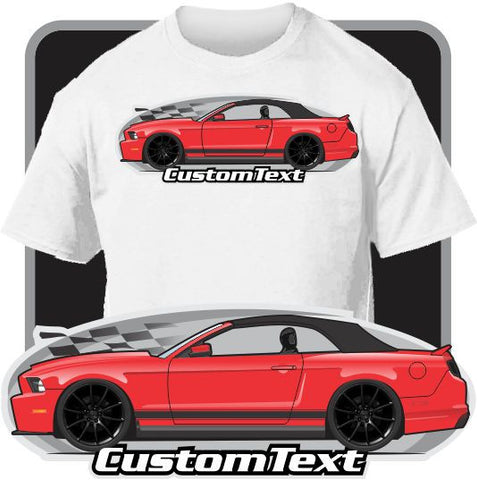 Custom Art T-Shirt 2010 11 12 13 14 2014 Mustang 5.0 GT convertible rag top up not affiliated with ford