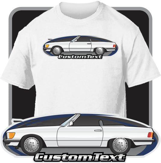 Custom Art T-Shirt R107 1972 73 74 75 77-1979 Mercedes Benz 280 350 450 SL Convertible