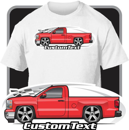 Custom Art T-Shirt for 2014 15 Chevy Chevrolet Silverado Black Texas LTZ Z71 Pickup Truck gmc
