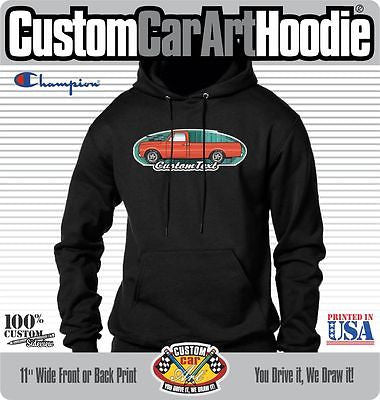 Custom Art Hoodie 1967 68 69 70 71 1972 GMC Sierra Chevrolet Chevy C-10 Cheyenne Long Bed Pickup truck