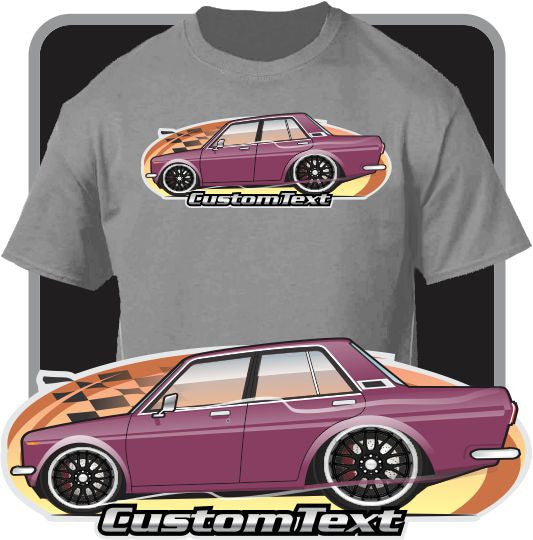 Custom Cartoon Art T-Shirt 1968 69 1970 71 72 Datsun 510 4 door Sedan Bluebird