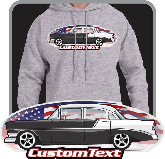 Custom Art Hoodie 1956 56 Chevy Chevrolet 210 Bel Air Sedan 4 door Post Del Ray