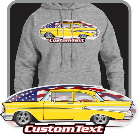 Custom Art Hoodie 57 1975 Chevy Chevrolet Bel Air Del Ray 150 210 2 door sedan