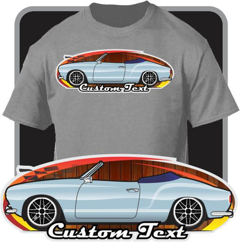 Custom Car Art T-shirt 57 1957 58 1958 1959 Volkswagen VW Karmann Ghia Type 14 Convertible